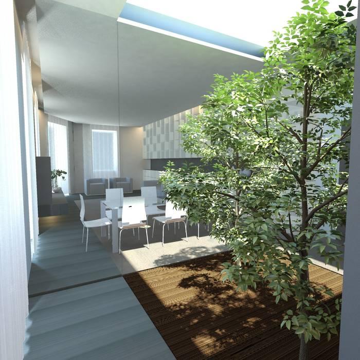 Il giardino del soggiorno: Giardino in stile in stile Minimalista di gk architetti  (Carlo Andrea Gorelli+Keiko Kondo)