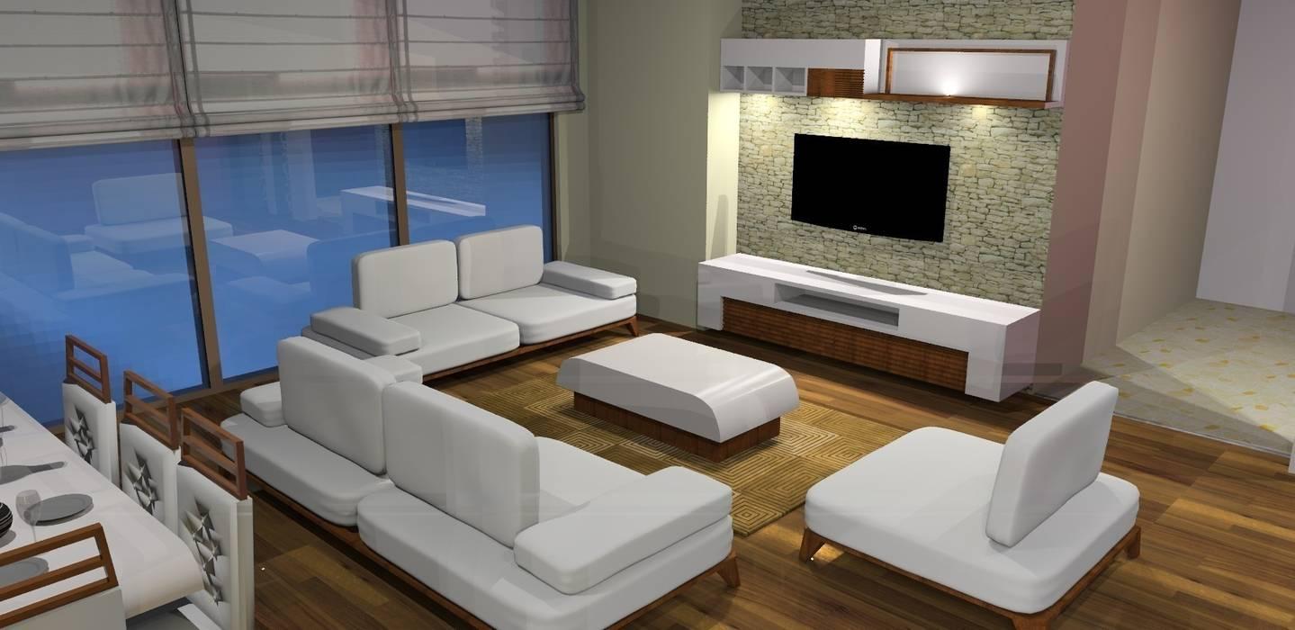 Trabcelona Design – proje çalışması:  tarz Oturma Odası, Modern