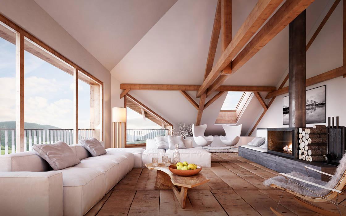 Wohnen im Dachgeschoss Rustikale Wohnzimmer von von Mann Architektur GmbH Rustikal