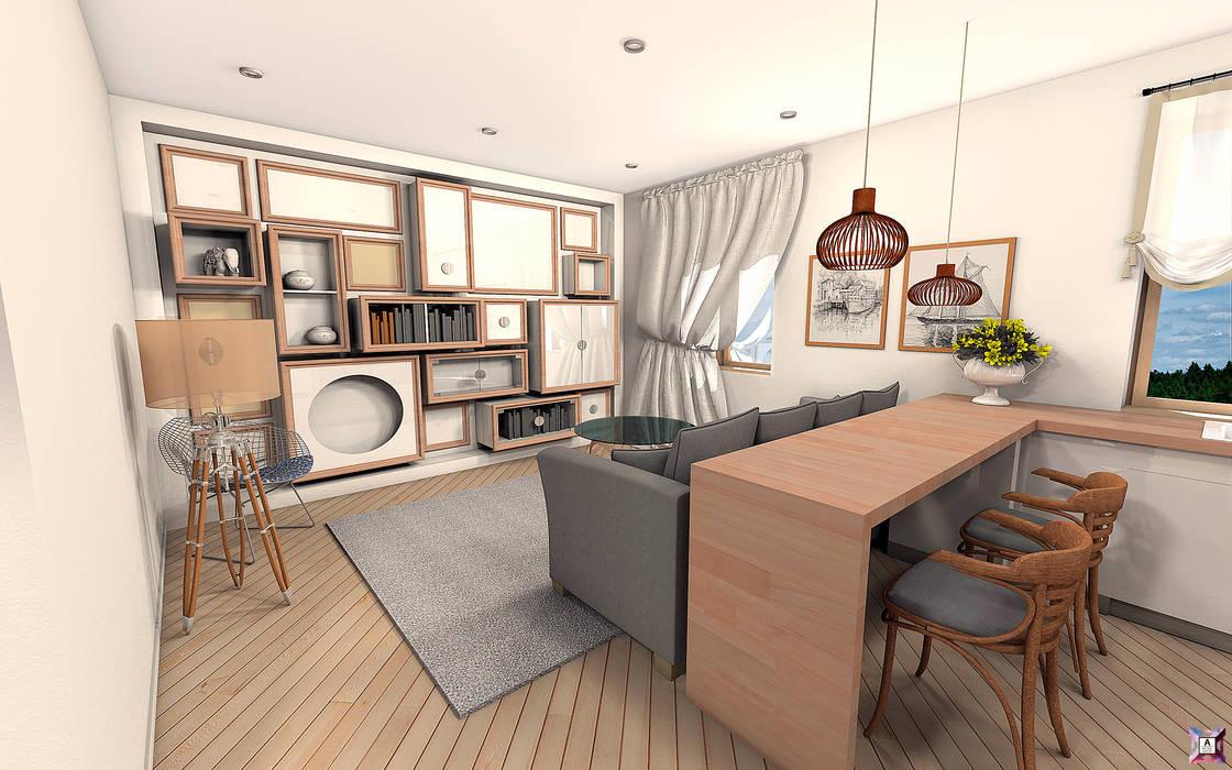 Квартира в Южном городе: Гостиная в . Автор – A.workshop, Модерн