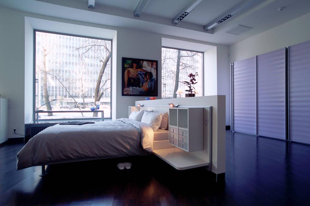 Вид на зону спальни Interluebke: Офисы и магазины в . Автор – Архитектурное бюро Лены Гординой