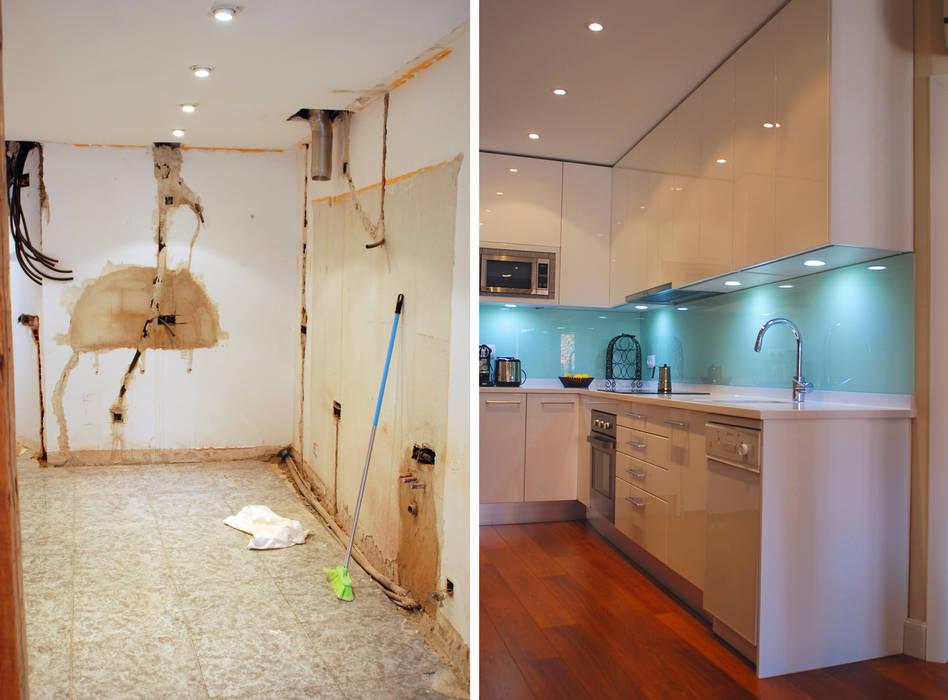 Reforma integral de vivienda en barrio de Chueca de Madrid por Traber Obras. Zona cocina americana antes y después. Traber Obras