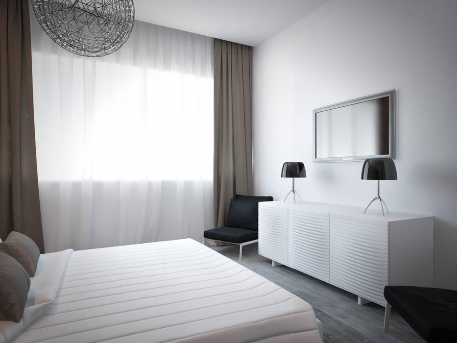 Дизайн квартиры в ярких оттенках Спальня в стиле модерн от White & Black Design Studio Модерн
