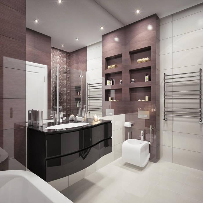 Дизайн квартиры в ярких оттенках Ванная комната в стиле модерн от White & Black Design Studio Модерн