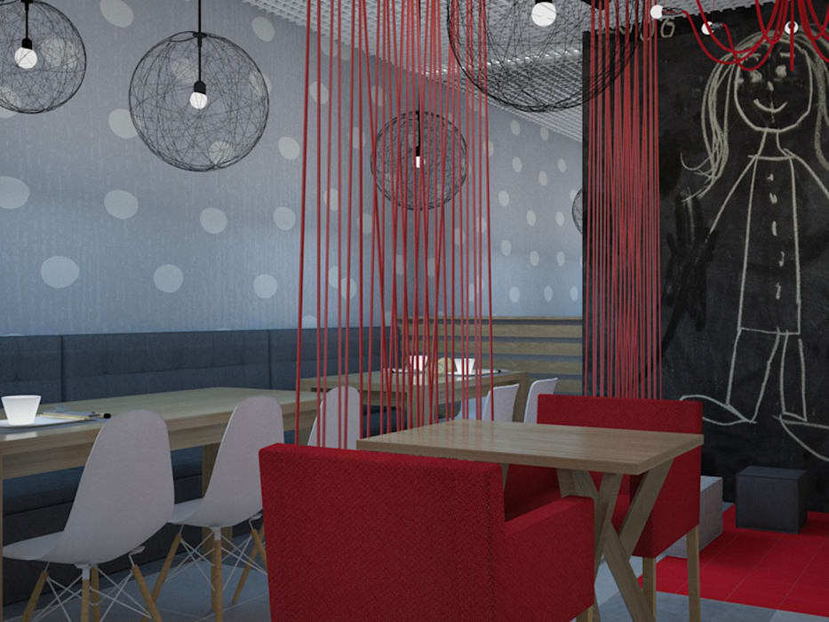 Kawiarnia-cukiernia w kontrastowej odsłonie: styl , w kategorii Gastronomia zaprojektowany przez Kameleon - Kreatywne Studio Projektowania Wnętrz,