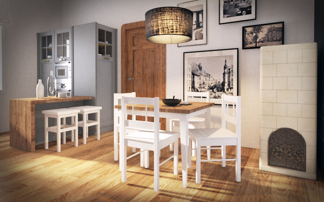 Mieszkanie w kamienicy - eklektyczny styl: styl , w kategorii Kuchnia zaprojektowany przez Kameleon - Kreatywne Studio Projektowania Wnętrz,