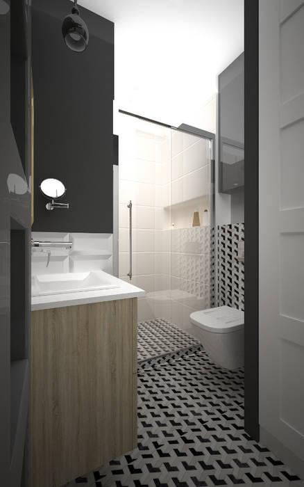 Mieszkanie w szarościach - Poznań: styl , w kategorii Łazienka zaprojektowany przez Kameleon - Kreatywne Studio Projektowania Wnętrz