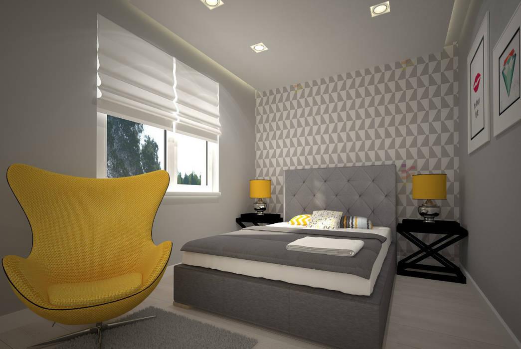 Mieszkanie w szarościach - Poznań Kameleon - Kreatywne Studio Projektowania Wnętrz Skandynawska sypialnia