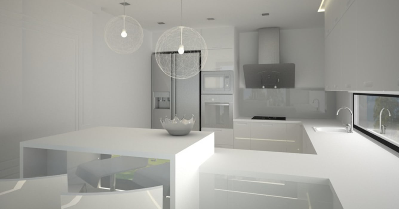 Dom w stylu bauhaus - Niemcy: styl , w kategorii Kuchnia zaprojektowany przez Kameleon - Kreatywne Studio Projektowania Wnętrz