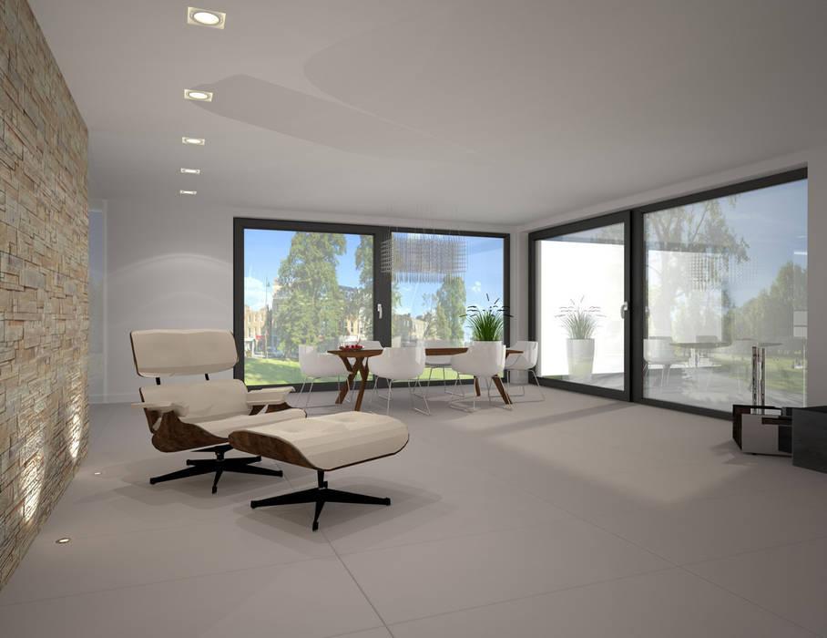 Dom w stylu bauhaus - Niemcy: styl , w kategorii Salon zaprojektowany przez Kameleon - Kreatywne Studio Projektowania Wnętrz
