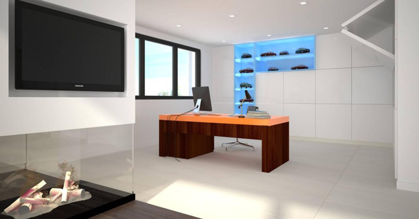 Dom w stylu bauhaus - Niemcy: styl , w kategorii Domowe biuro i gabinet zaprojektowany przez Kameleon - Kreatywne Studio Projektowania Wnętrz