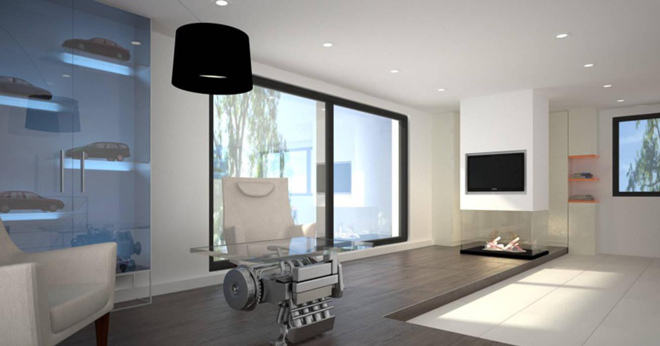 Dom w stylu bauhaus - Niemcy Minimalistyczne domowe biuro i gabinet od Kameleon - Kreatywne Studio Projektowania Wnętrz Minimalistyczny