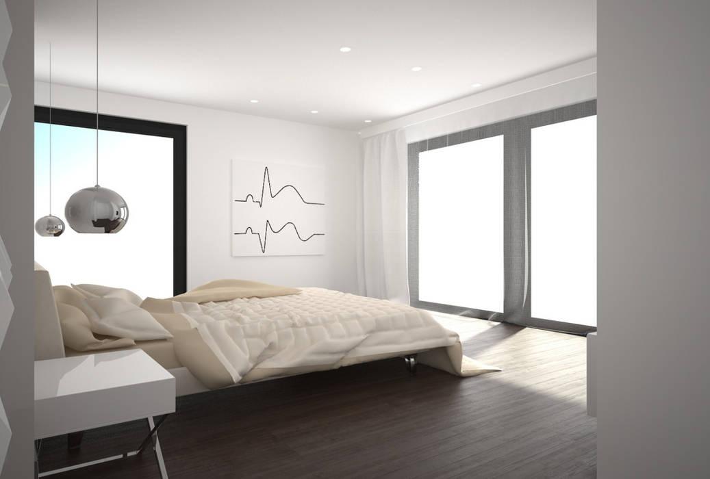 Dom w stylu bauhaus - Niemcy Kameleon - Kreatywne Studio Projektowania Wnętrz Minimalistyczna sypialnia