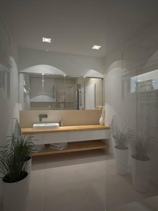 Dom w stylu bauhaus - Niemcy: styl , w kategorii Łazienka zaprojektowany przez Kameleon - Kreatywne Studio Projektowania Wnętrz