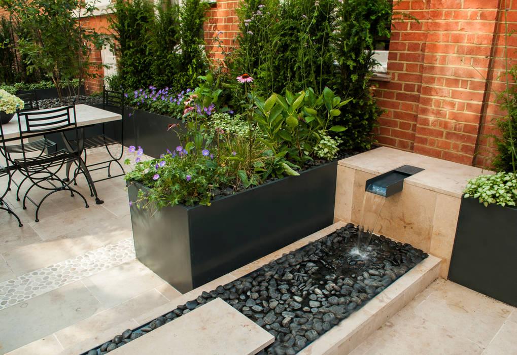 Knightsbridge Roof Terrace - Aralia Garden Design Espaços comerciais modernos por Aralia Moderno Pedra
