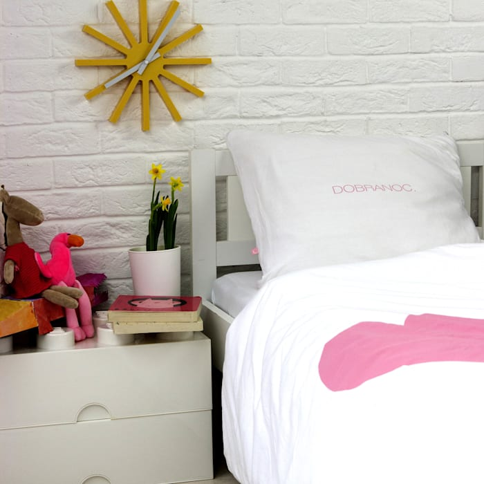 Pościel dzianinowa biała z różowym sercem Nocne Dobra Pokój dziecięcyAkcesoria i dekoracje