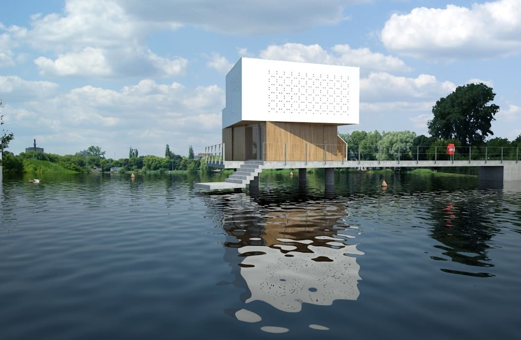 DOM NA WODZIE  : styl minimalistyczne, w kategorii Domy zaprojektowany przez 90 stopni