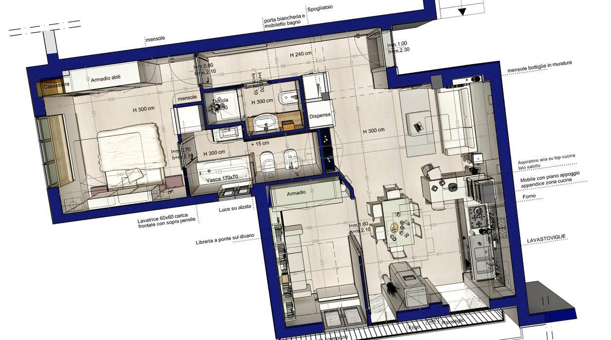prospettiva aerea dell' intervento Fluido Design Studio
