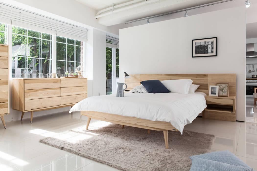 6534 라플란드 내추럴 모던 원목 침대: 시더스디자인그룹의  침실,
