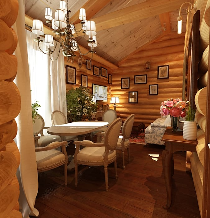 Дизайн частного дома в поселке закрытого типа. Anarchi&И.Мальцев Гостиная в рустикальном стиле от AnARCHI Рустикальный