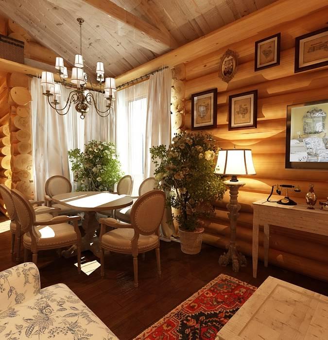 Дизайн частного дома в поселке закрытого типа. Anarchi&И.Мальцев Столовая комната в рустикальном стиле от AnARCHI Рустикальный