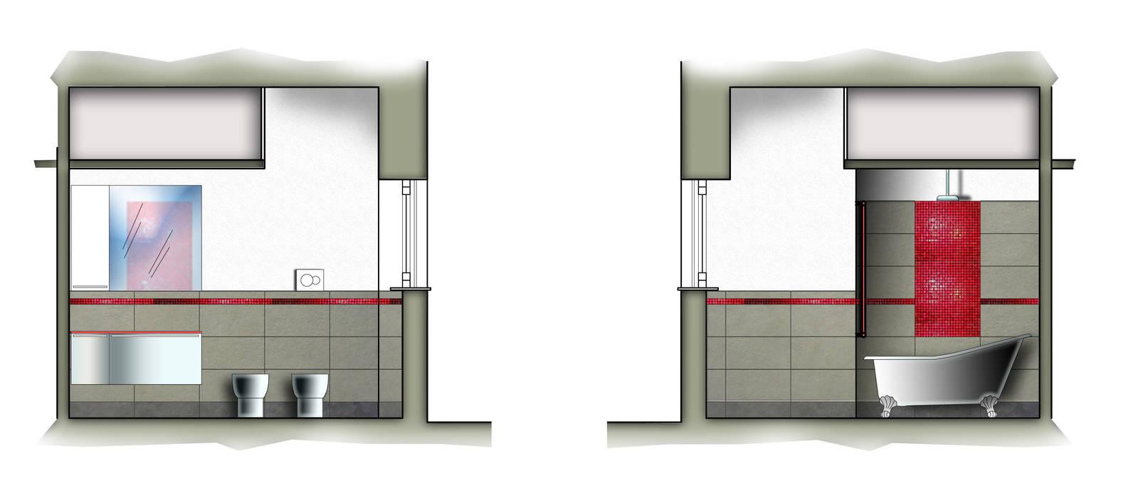 Il bagno: Bagno in stile in stile Moderno di Adriano Palmarini Architetto