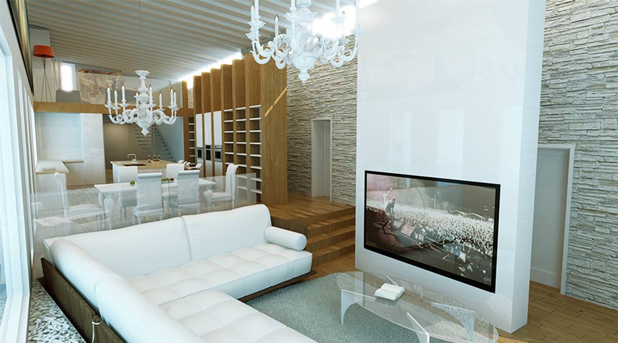 Частная усадьба #001 Гостиная в стиле модерн от Cntez Модерн