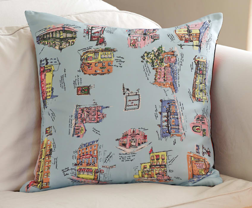 Silk Memenro Cushion - London Pubs: classic  by RE, Classic