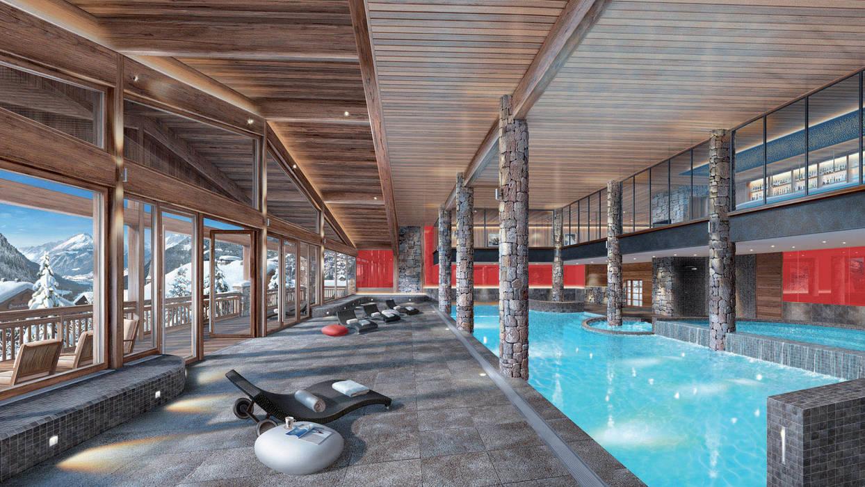Piscine SPA les fermes de Chatels: Hôtels de style  par Pepindebanane