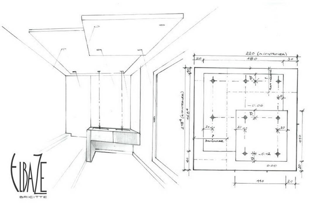 Perspective vue sur la salle de bain: Salle de bains de style  par Agence Brigitte Elbaze