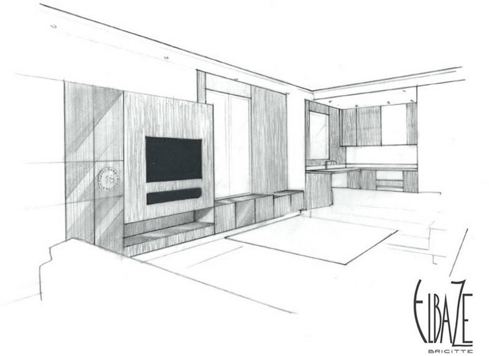 Perspective vue sur le salon salon moderne par agence ...