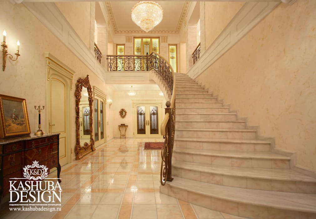 KASHUBA DESIGN Classic corridor, hallway & stairs