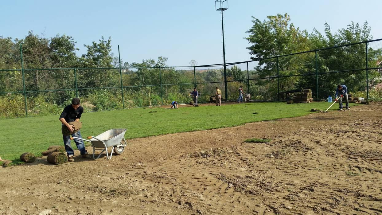 Sakarya -Karaçam Futbol Sahası Rulo Çim Uygulaması Klasik Stadyumlar Çisem Peyzaj Tasarım Klasik
