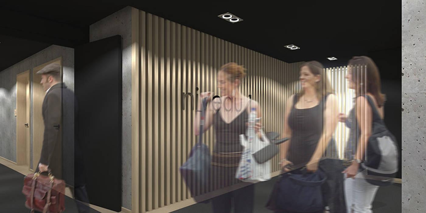 Couloir de l'hôtel SPA à Brest: Hôtels de style  par Trace & Associes architecture