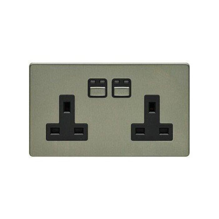 LIGHTWAVERF 2 GANG 13A SOCKET (STAINLESS STEEL) DirectTradeSupplies Multimedia roomElectronics