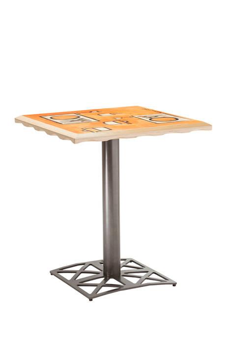 Tafel met een beschilderd blad op thema Industriële gastronomie van Design X Ambacht Industrieel