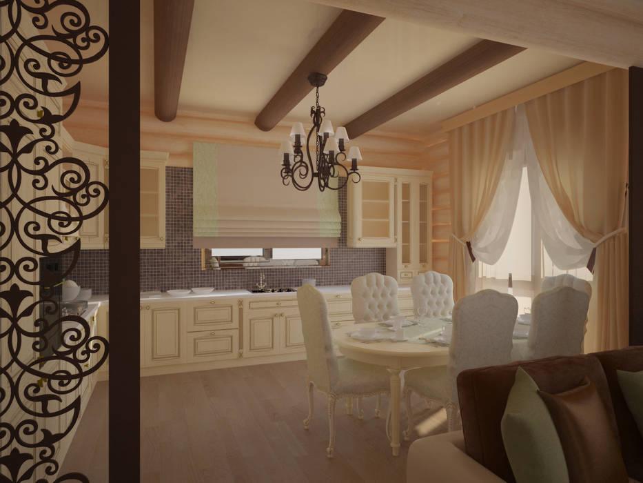 Ар-деко в срубе Кухня в стиле кантри от Kalista Кантри