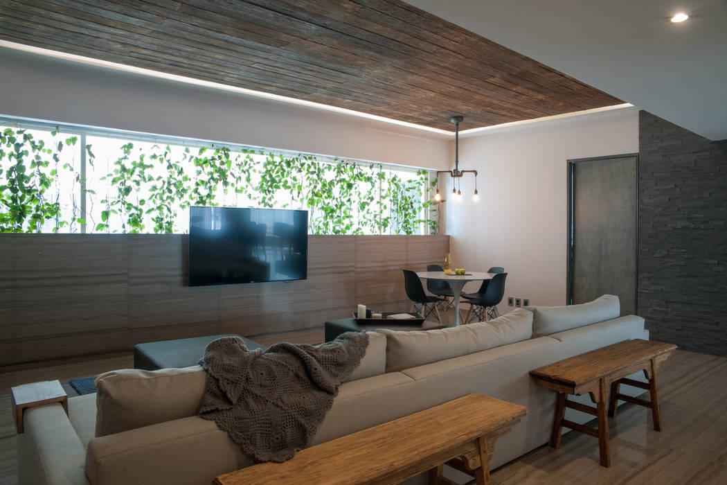 Departamento Club de Golf: Salas de estilo  por kababie arquitectos, Moderno