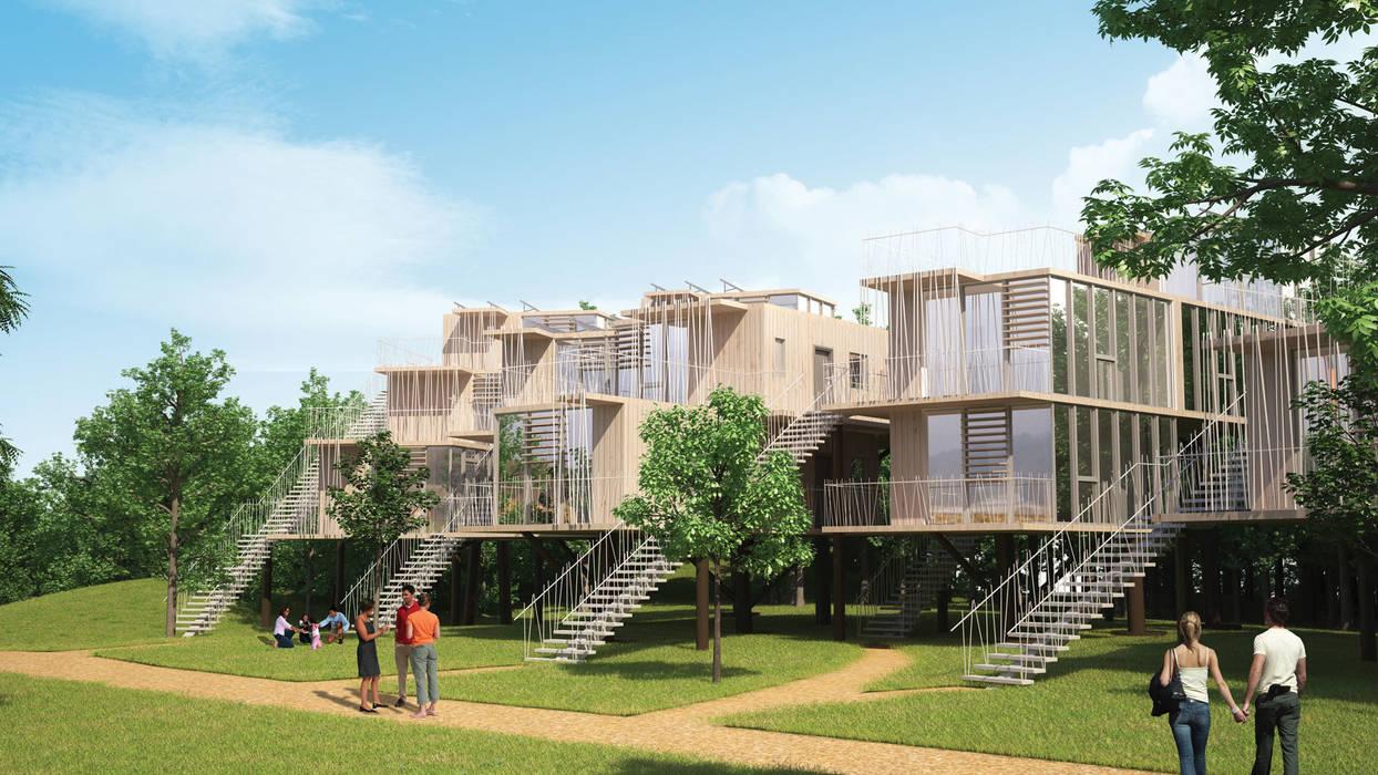 Maisons dans les arbres - intégration dans le paysage: Maisons de style de style eclectique par Pepindebanane