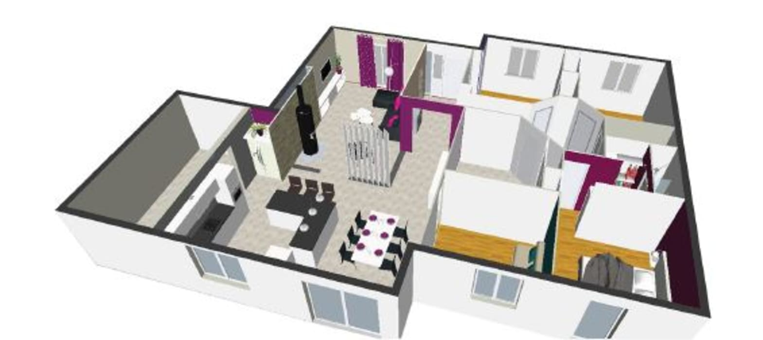 Plan 3D: Salon de style de style Moderne par jennifer andrieu