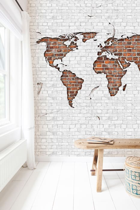 Worldmap Brick Moderne slaapkamers van BN International Modern