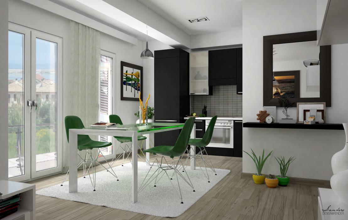 Render e soluzione : Cucina in stile in stile Moderno di Santoro Design Render