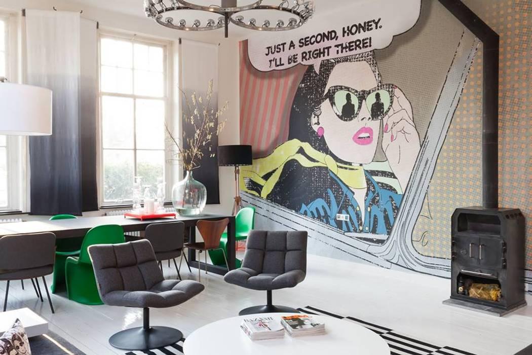 Popart fotobehang van designer Katarina Stupavska:  Woonkamer door BN International, Modern