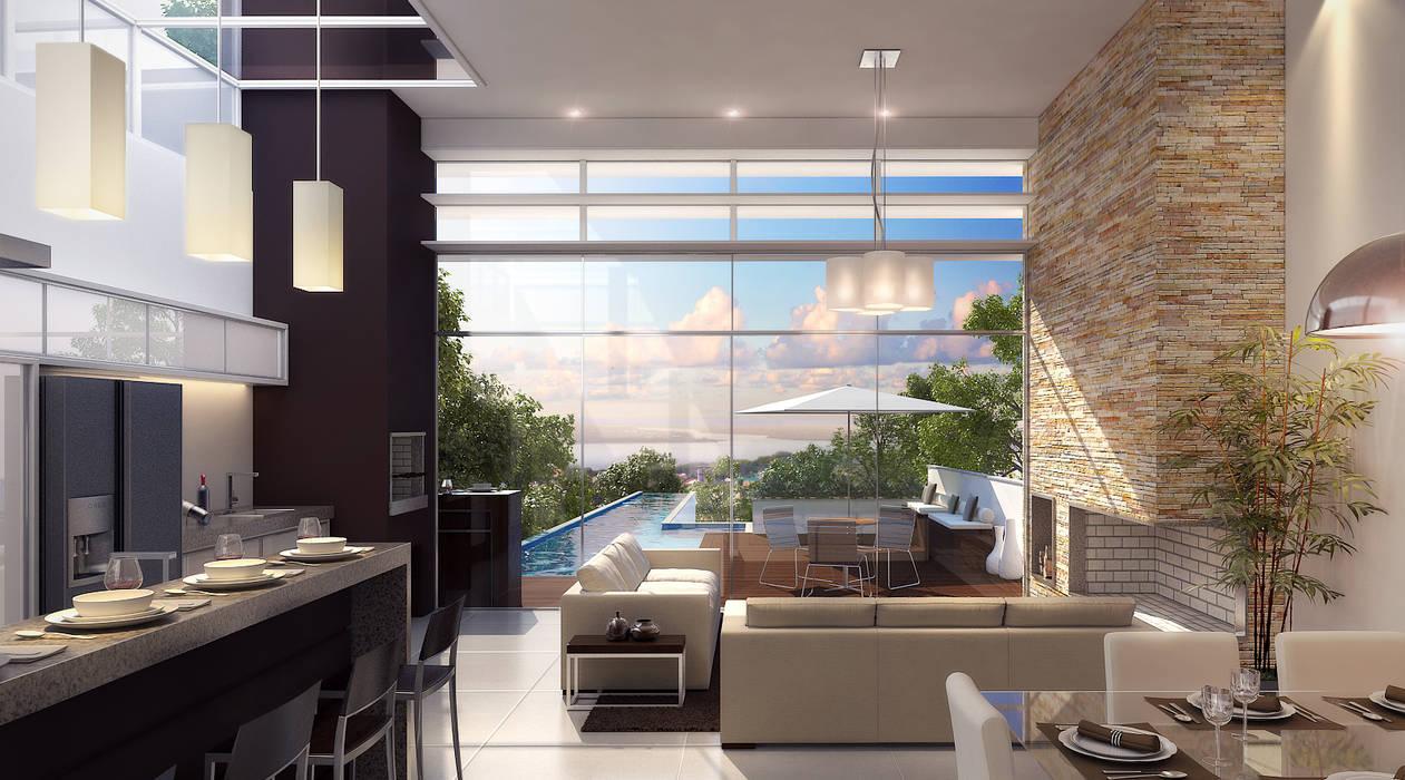 Vista panorâmica estar Salas de estar modernas por Biehl Arquitetura Moderno
