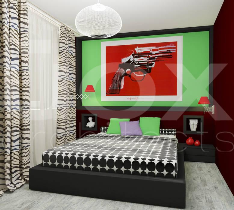 """Квартира """"POPart&cocaCOla"""": Спальни в . Автор – ЙОХ architects, Эклектичный"""