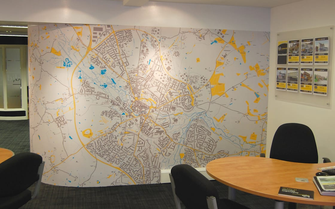 Customised Map Wallpaper using company branded colours Eclectic style study/office by Wallpapered Eclectic