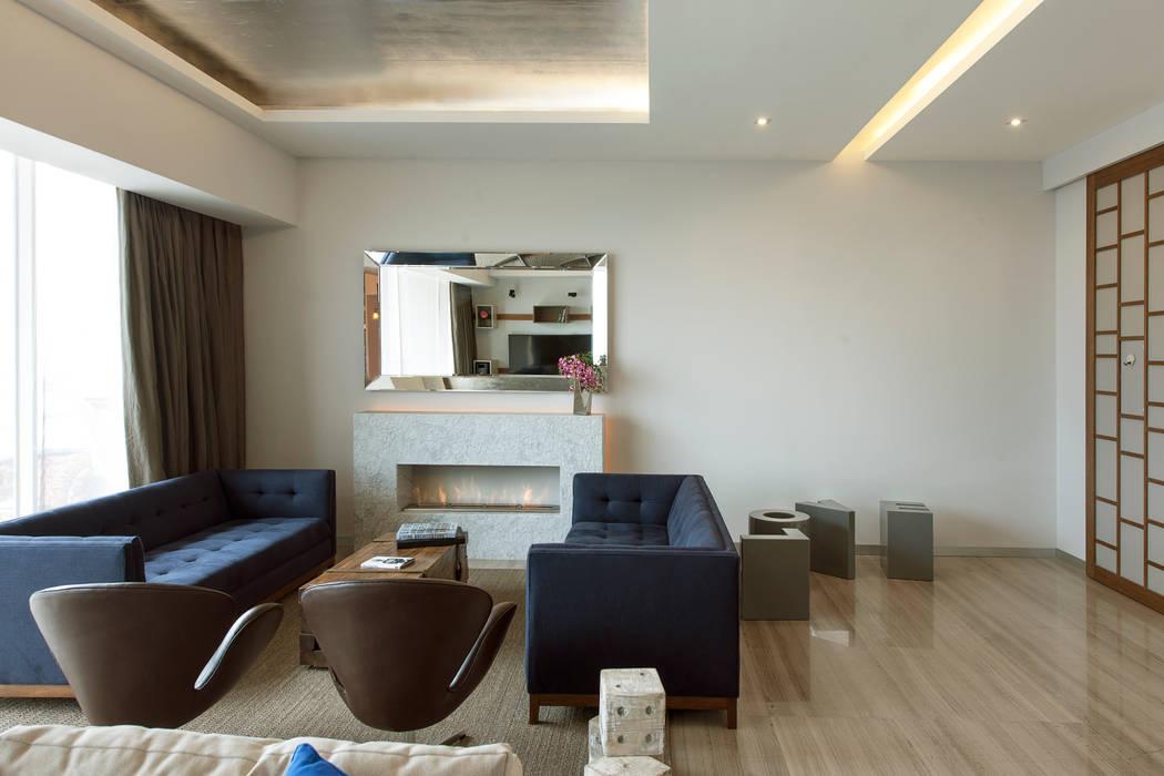 Departamento GC: Salas de estilo  por kababie arquitectos, Moderno