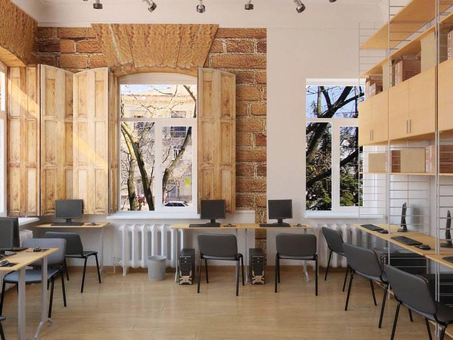 Офисный лофт: Офисные помещения в . Автор – Дизайн студия Александра Скирды ВЕРСАЛЬПРОЕКТ,