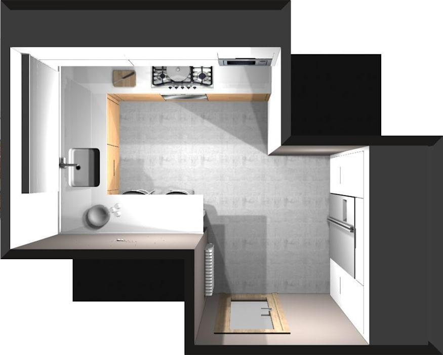 Diseño 3d – vista pájaro cocinas de estilo moderno de ...
