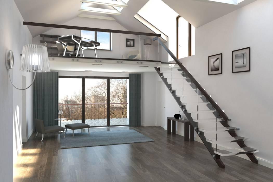 Wohnraum mit loftgalerie moderne wohnzimmer von formforhome ...
